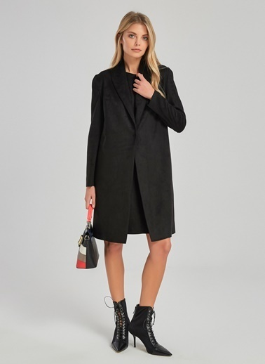 People By Fabrika Uzun Süet Ceket Siyah